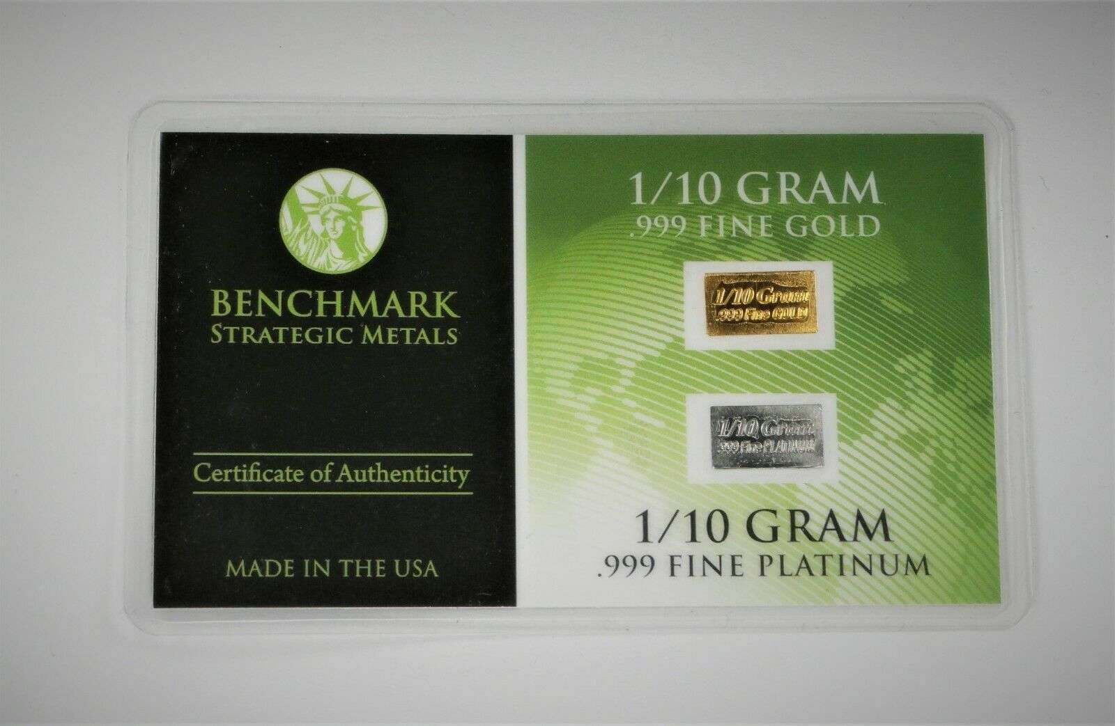 1//10 Gram Gold /& Platinum Bar COMBO 999 Fine Bullion Bars in sealed certcard a16