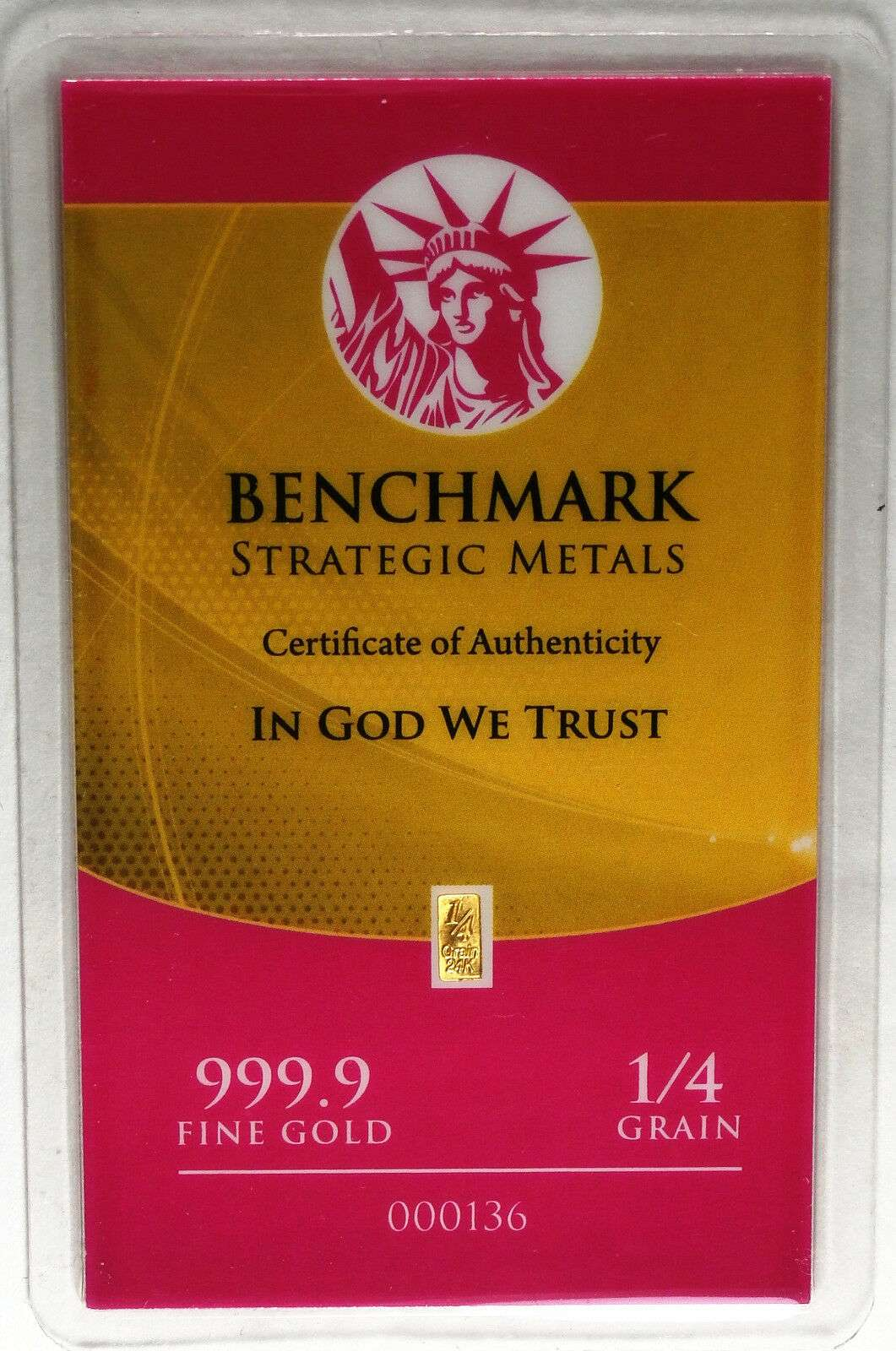 AUTHENTIC BENCHMARK STRATEGIC 1//4 GRAIN 24K GOLD BAR .999 FINE GOLD
